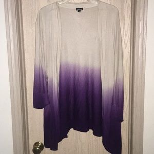 Torrid beige and purple ombré cardigan